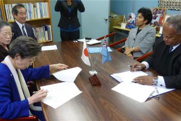 President Nakano (right) and Ambassador Isikeli Mataitoga during the...