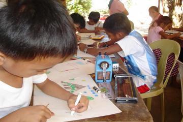 School children during the organized environmental workshop.